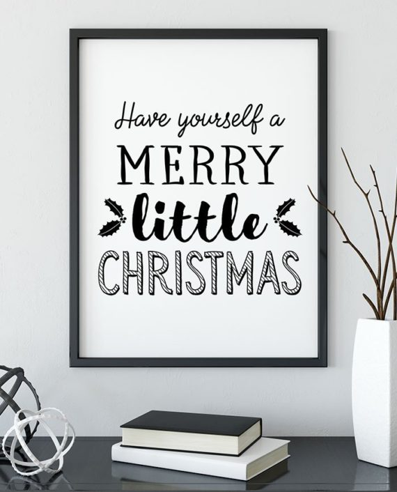 Modern christmas have yourself a merry little christmas typography mistletoe