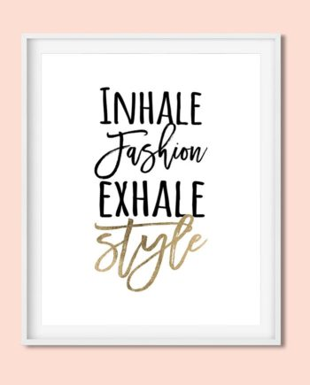 Modern fashion and style quote typography white faux gold foil