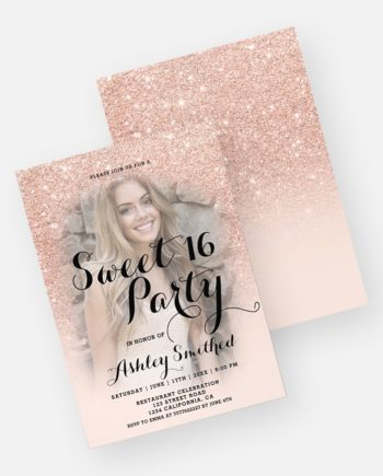 Modern faux rose gold glitter ombre photo Sweet 16 Invitation add your photo preview