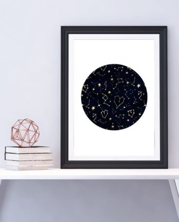 Modern gold constellation hearts stars space on navy blue watercolor hand drawn
