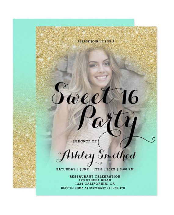 Modern gold glitter ombre photo Sweet 16 Invitation