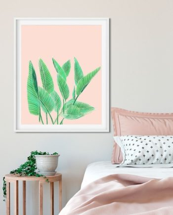 Modern hand painted tropical green watercolor leaf bird of paradise on pastel pink