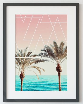 Modern retro palm tree sunset pink blue beach white geometric triangles preview close up