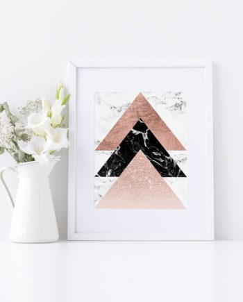 Modern rose gold black white marble triangles geometric printable art preview stylish
