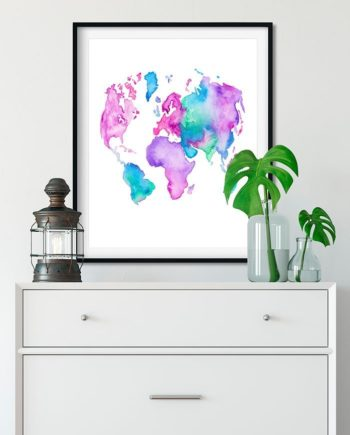 Modern world map globe bright watercolor paint