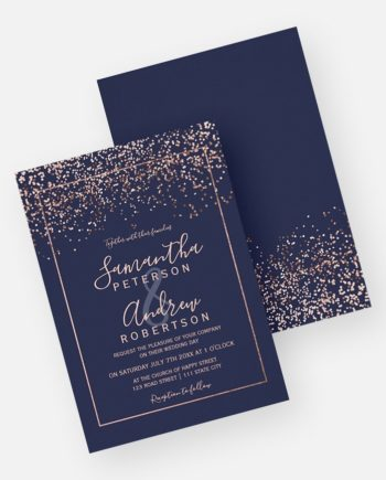 Rose gold confetti navy blue typography wedding preview