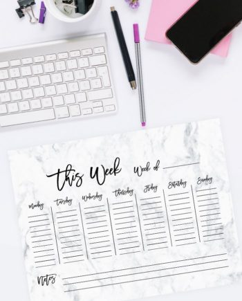 weekly planner preview white elegant marble