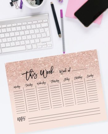 weekly planner rose gold glitter blush pink preview