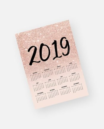 2019 rose gold glitter ombre blush pink yearly calendar preview