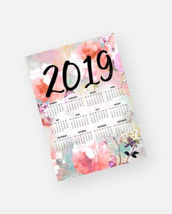 2019 yearly calendar romantic watercolor pastel floral pattern