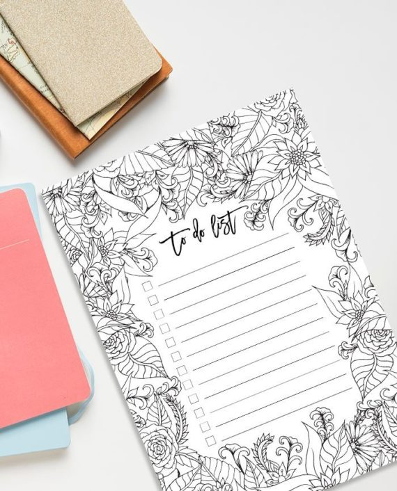 A4 to do list floral coloring page preview