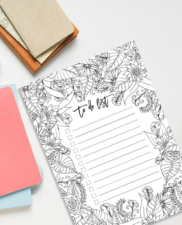 FREE to do list floral coloring page printable instant ...
