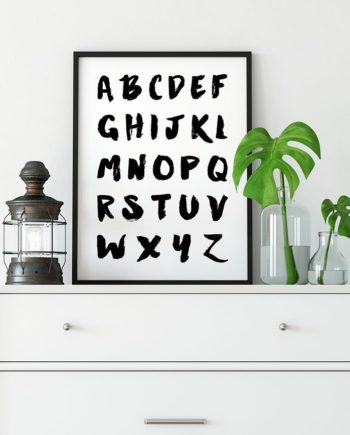 Alphabet Art Print, Black And White typography Printable Art, Nursery Print