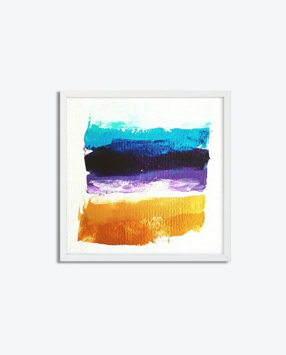 Blue purple gold brushstrokes acrylic painting on paper