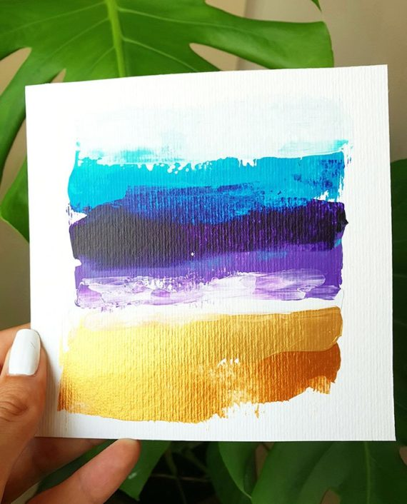 Blue purple gold brushstrokes acrylic painting on paper view