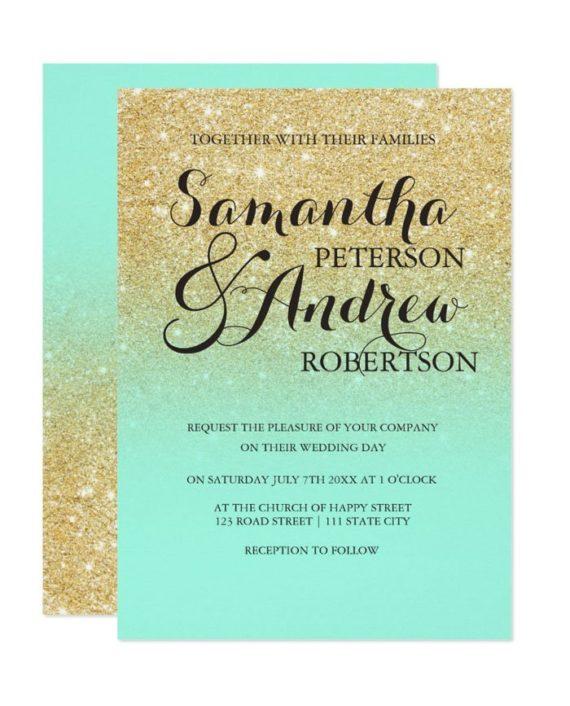 Chic faux gold glitter mint wedding invitation