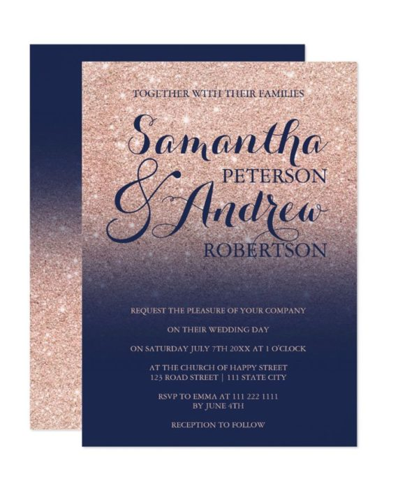 Chic faux rose gold glitter navy blue wedding invitation