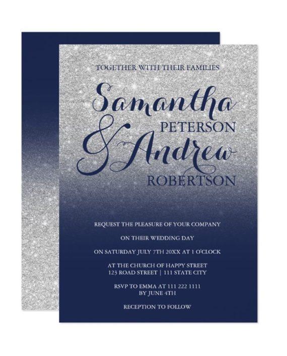 Chic faux silver glitter navy blue wedding invitation