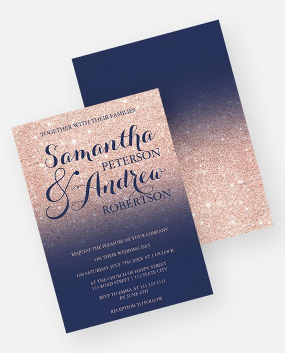 Chic rose gold glitter navy blue wedding invitation preview