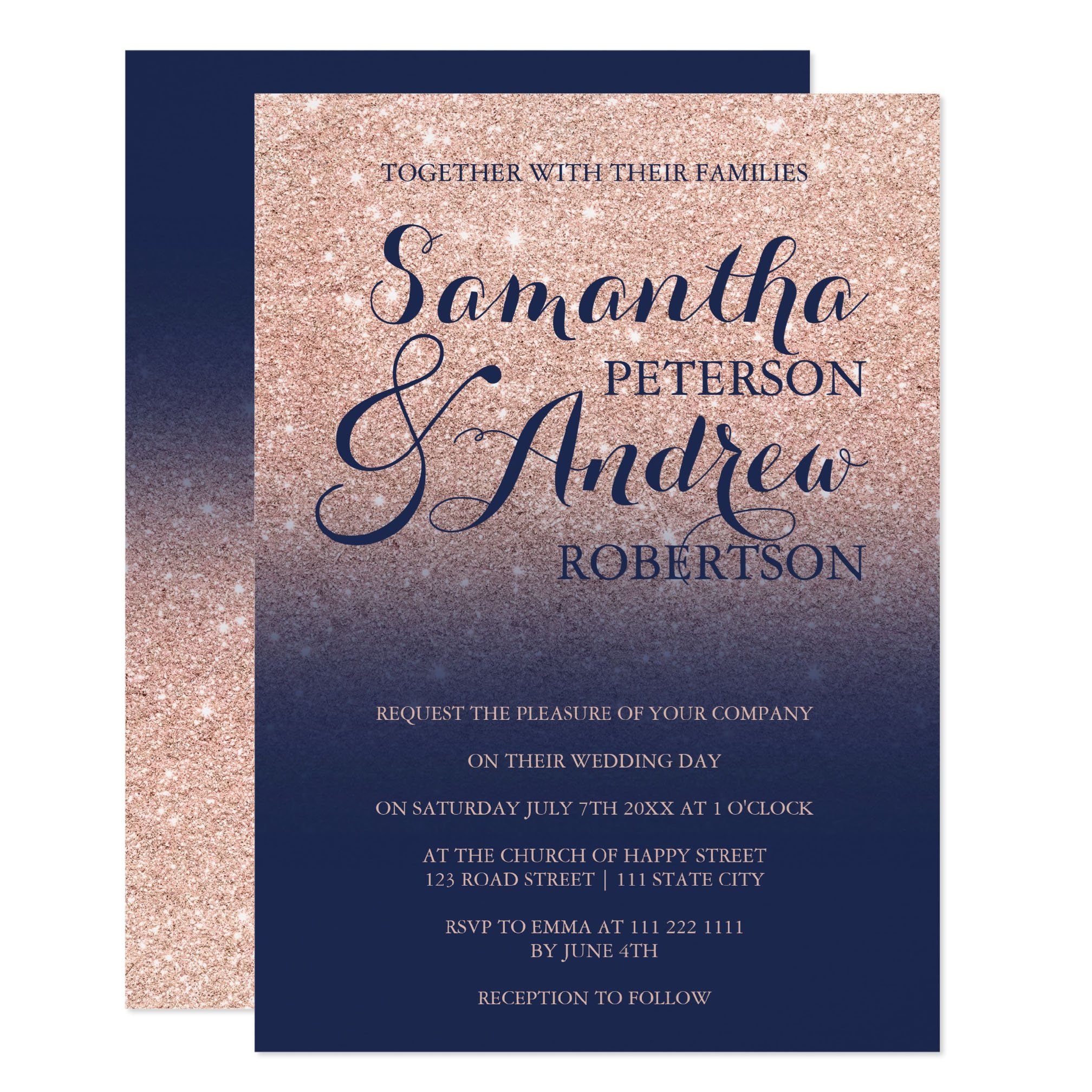 Chic rose gold glitter navy blue wedding invitation preview zazzle