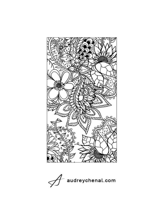 Coloring floral phone oversize template 1