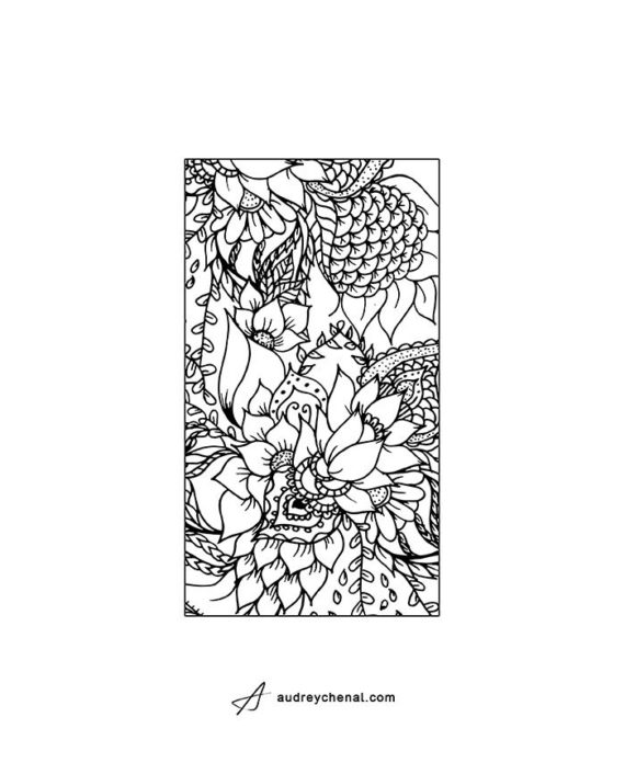 Coloring floral phone oversize template zoom3