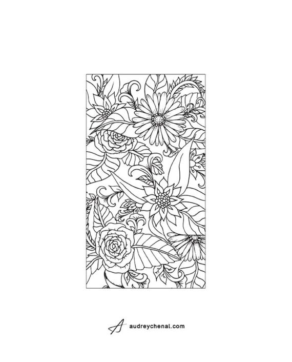 Coloring floral phone oversize template zoom5