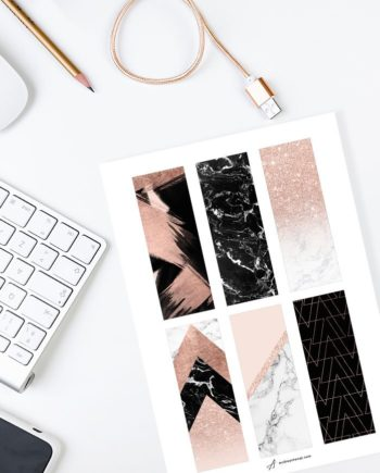 DIY A4 bookmarks rose gold marble collection preview