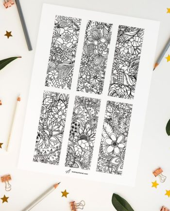 DIY Black and white printable coloring bookmarks preview