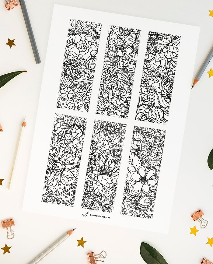 FREE DIY printable floral coloring bookmarks Instant Digital ...