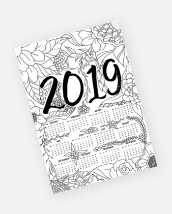 free yearly 2019 calendar floral adult coloring page instant download preview