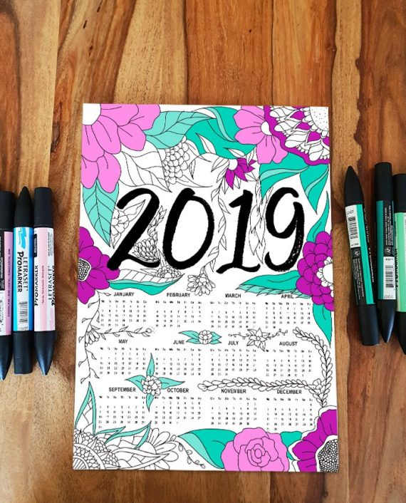 FREE Yearly 2019 Calendar Floral Adult Coloring Page Instant Download preview colored in