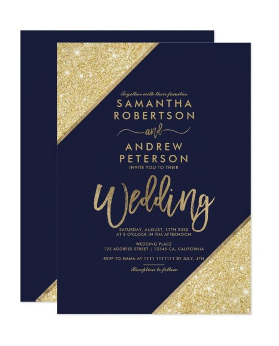 Gold glitter typography navy blue wedding invitation