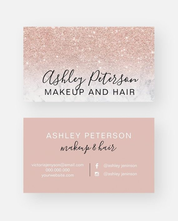 Makeup elegant typography marble rose gold glitter business card