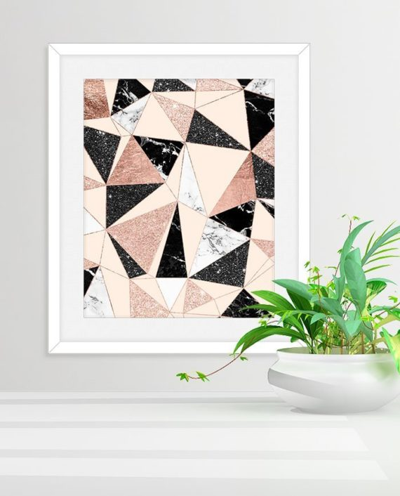 Modern black white marble blush pink rose gold glitter foil geometric abstract triangles pattern preview