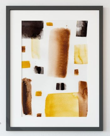 Modern brown black minimalist watercolor abstract geometric wall art