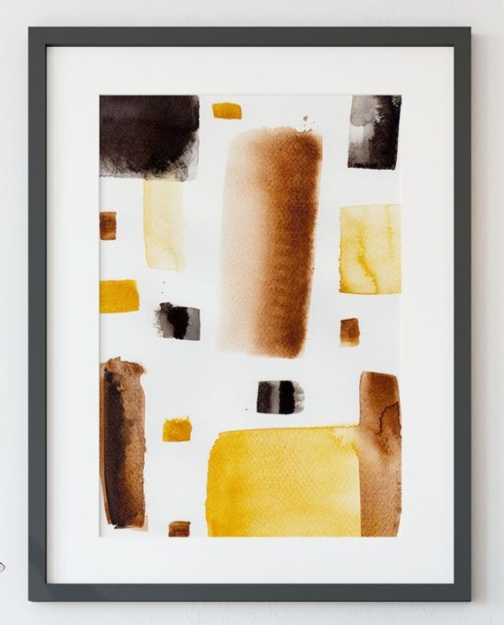 Modern brown black minimalist watercolor abstract geometric wall art