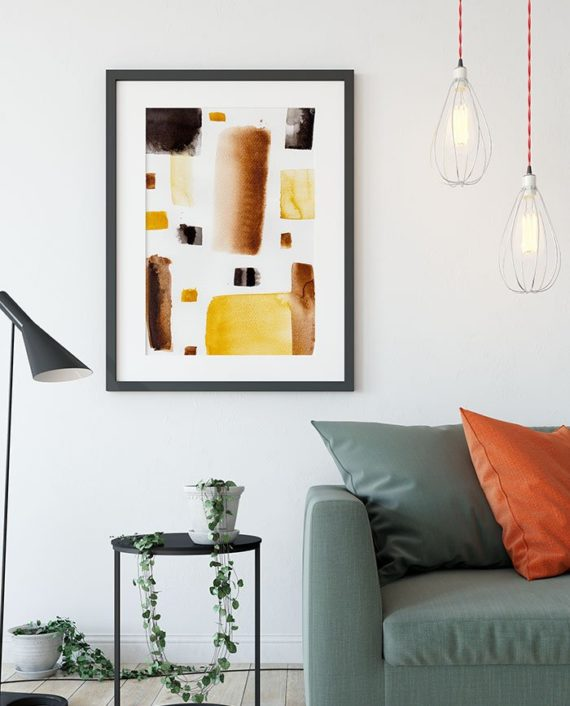 Modern brown black minimalist watercolor abstract geometric wall art close up