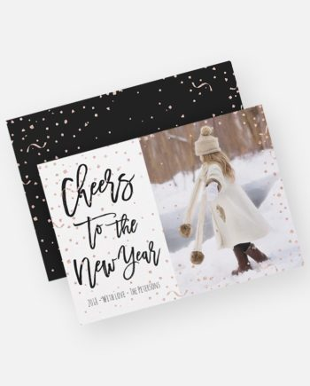 Modern faux rose gold confetti New Year typography Holiday Card preview