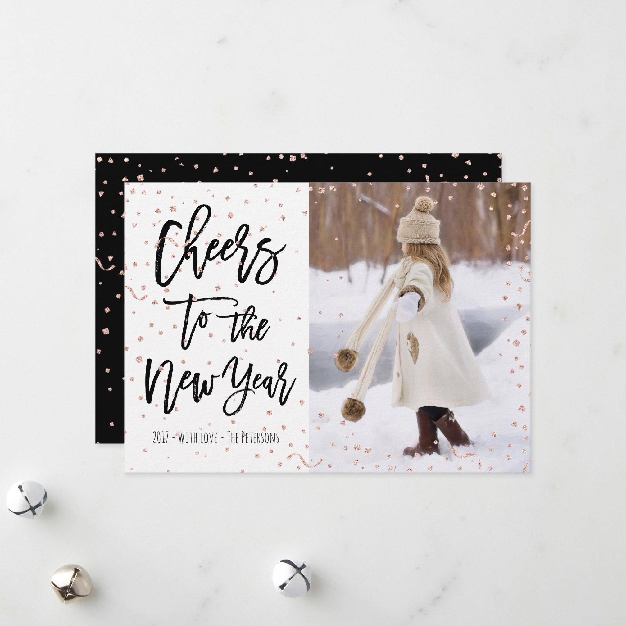 Modern faux rose gold confetti New Year typography Holiday Card zazzle preview