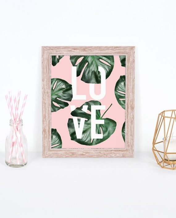 Modern white LOVE typography green monstera leaf on blush pink preview