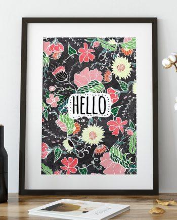 Pastel preppy flowers Hello typography chalkboard