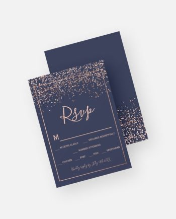 Rose gold confetti navy blue typography rsvp printable preview