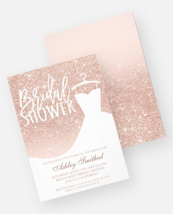 Rose gold glitter elegant chic dress Bridal shower printable Invitation preview