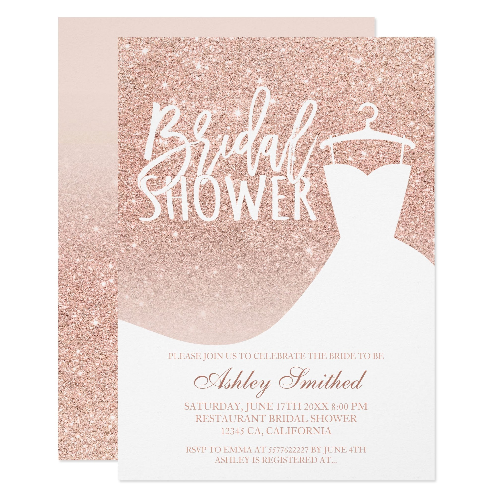 Rose gold glitter elegant chic dress Bridal shower printable Invitation preview zazzle