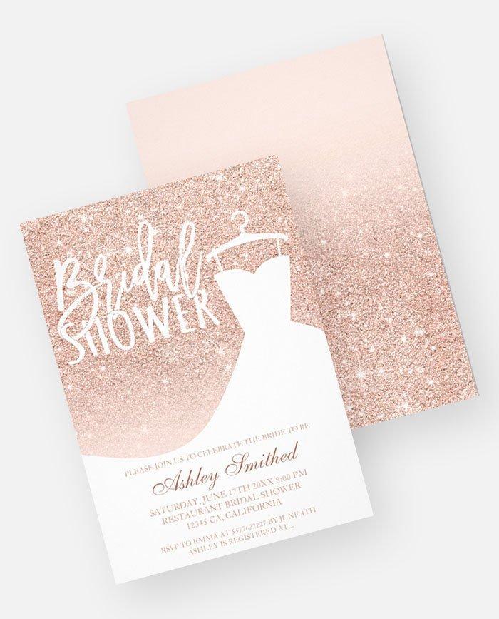 rose gold glitter elegant chic dress bridal shower printable invitation preview