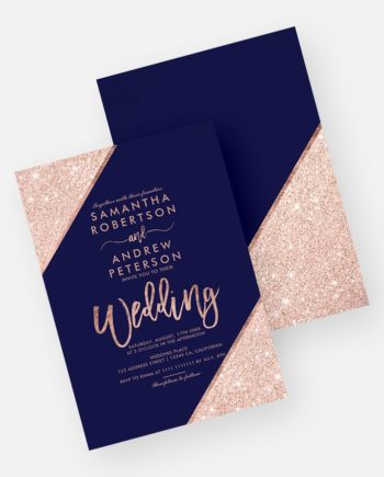Rose gold glitter typography navy blue printable wedding invitation