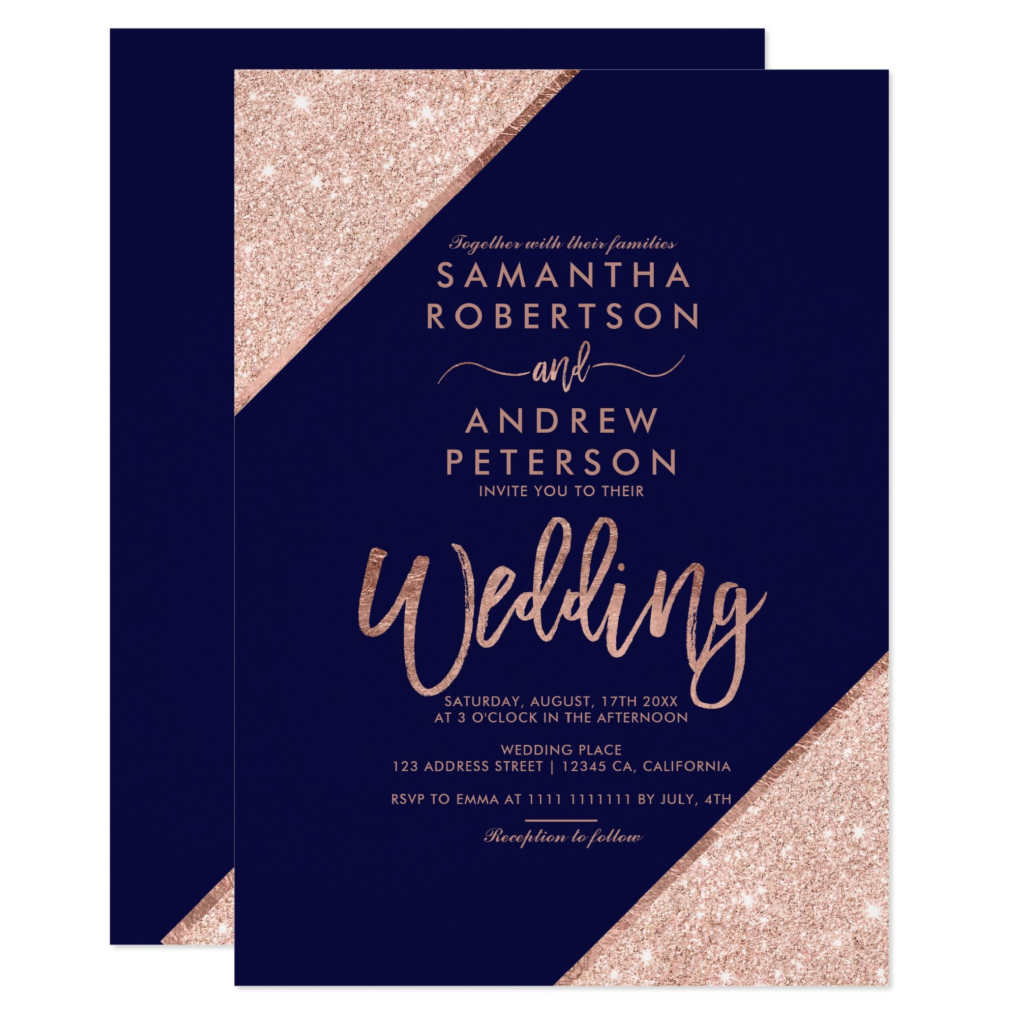 Rose Gold Glitter Typography Navy Blue Printable Wedding