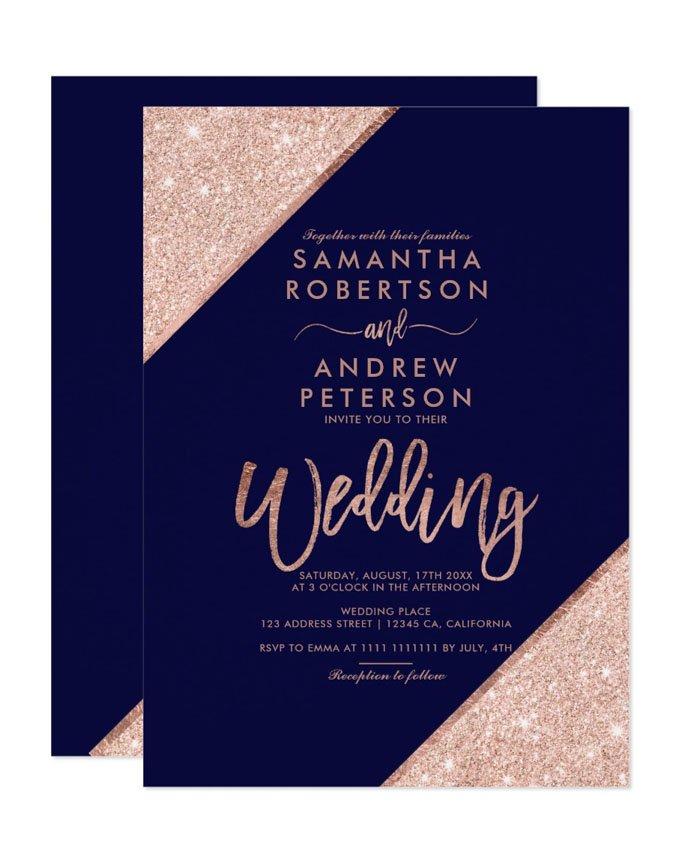 Navy Wedding Invitation: Rose Gold Glitter Typography Navy Blue Printable Wedding