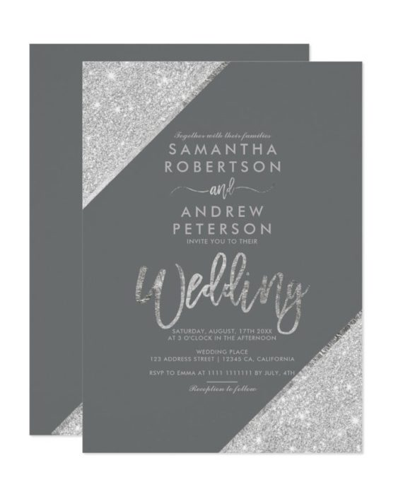 Silver glitter typography wedding invitation